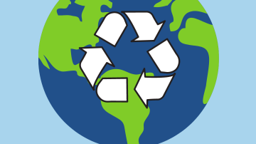 Earth Day - Earth with recycling arrows in front